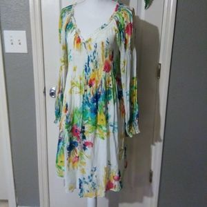 WHITE FLORAL PEASANT DRESS